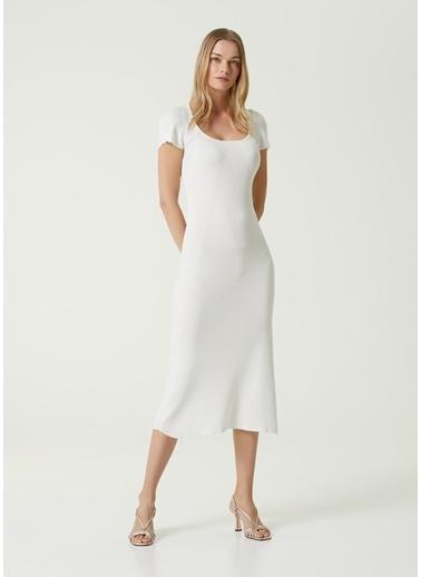 Beymen Collection 101592158 Kayık Yaka Kısa Kol Midi Kadın Triko Elbise Beyaz
